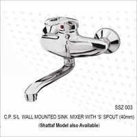 C.P. S/L WALL MOUNTED SINK MIXER WITH 'S' SPOUT