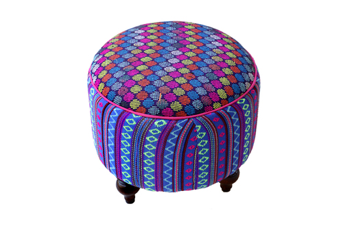 Upholstered Canvas Pouf