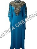High neck antique embroidery farasha kaftan