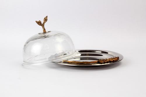 Wheat Ear Brass Cloche w/hammered Glass