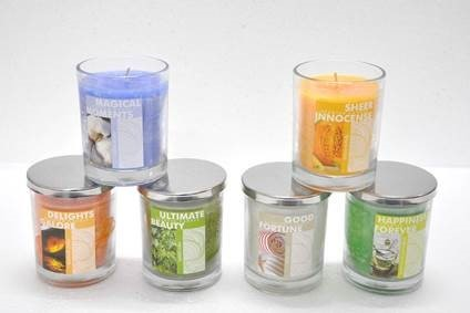 7 OZ Clear Glass Steel Lid  Jar Candle
