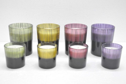 Colored Strip Glass Candle