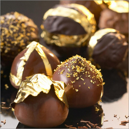 Edible gold leaf on chocolates