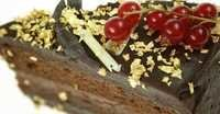 Gold flakes on chocolate fudge cake