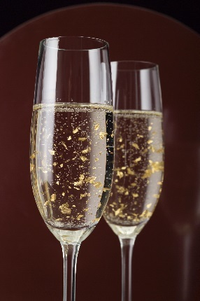 Edible gold flakes in Champagne1 & Wines