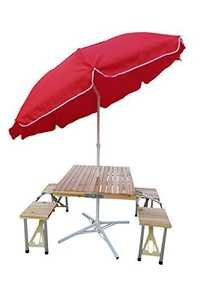 Cafeteria wooden Table with 8' Umbrella