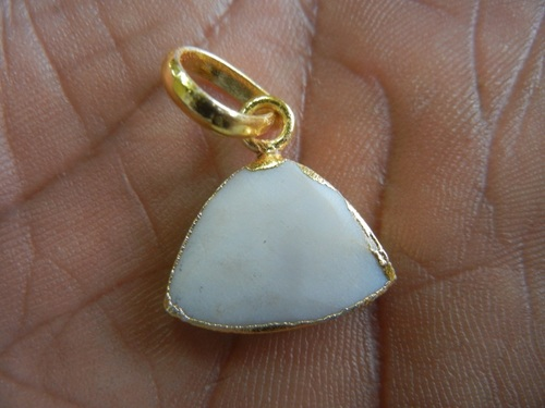 White Agate Electroplated Pendant