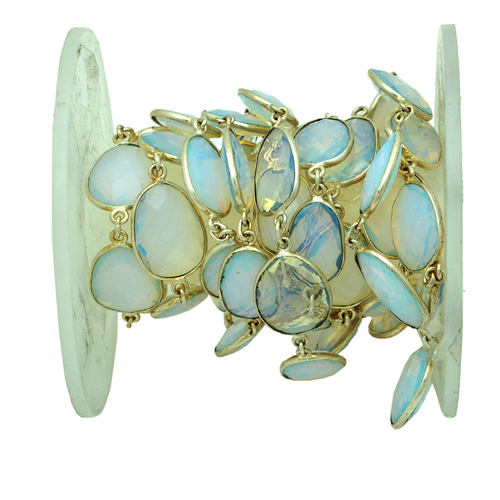 Opalite Station Chain with Silver Plating