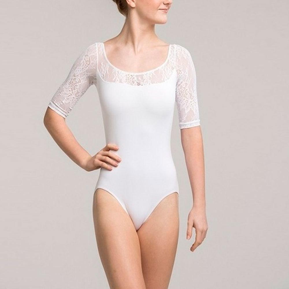 White Net Sleeve Leotard Body Sutt