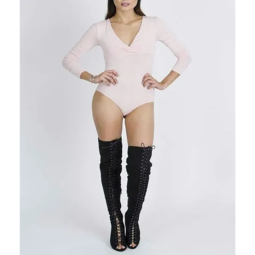 white Full Sleeve Leotard Body Sutt