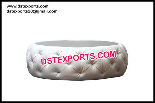 Beautiful White Leather Tufted Round Coffee Table