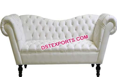 White Leather Tufted Two Seater