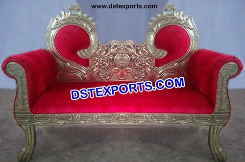 Wedding Double Leaf Brass Metal Sofa