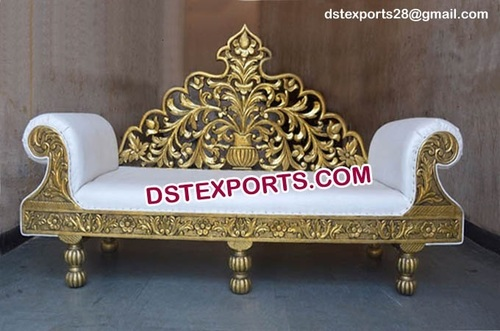 Traditional Indian Wedding Hand Carved Metal Sofa