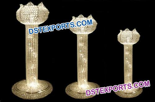 Lotus Wedding Metal Crystal Pillars