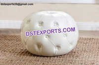 Gorgeous Ivory Grand Tufted Leather Ottoman Stool