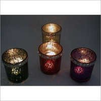 Color Glass with Diamond Border Candle Holder