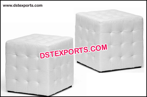 Gorgeous White Crystal Fitted Leather Square Ottoman