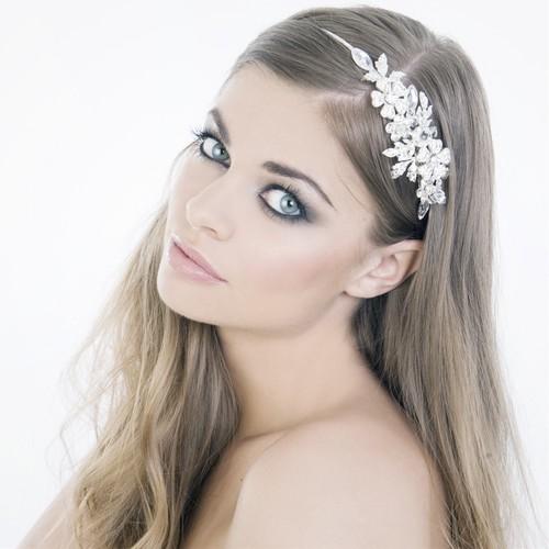 Swarovski crystal side tiara headband