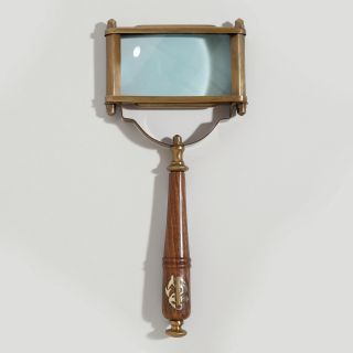 Wood and Brass Rectangle Magnifying Glass World Market