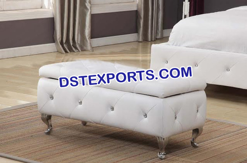 Latest Crystal Fitted Leather Tufted Setty