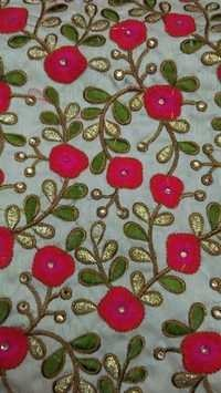 Fancy Flower Work fulkari Fabrics