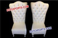 Bride Groom Crystal Fitted Leather Tufted Chairs