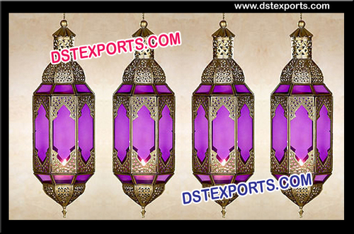 Purple Hanging Moroccan Lanterns For Decoration