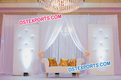 Wedding White Crystal Fitted Backdrop Tufted Stage