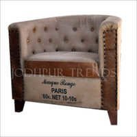 Canvas Leather Industrial Sofa