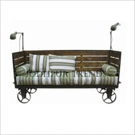 Reclaimed Wood Iron Frame Sofa