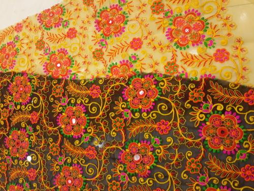 flower work fulkari fabrics