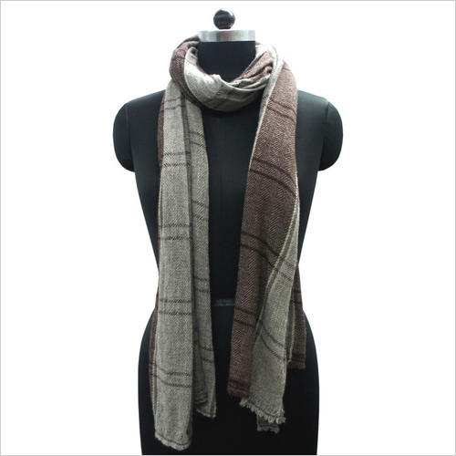 Brown Check Pashmina Shawls