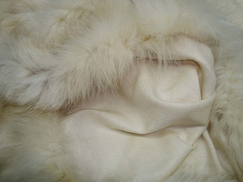 Pure White Silk Pashmina shawls with Fox Fur