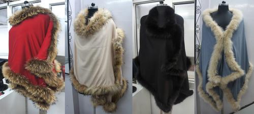 Silk Pashmina wool Shawls with Four Side Fur