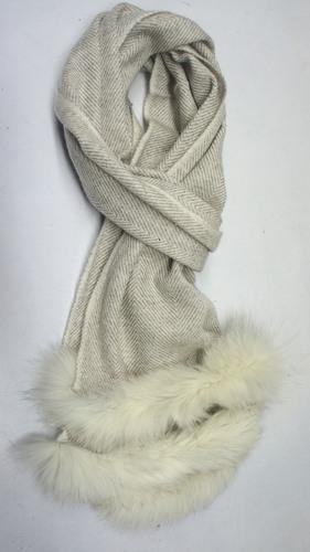 Herringbone pashmina scarf with two Side Fur