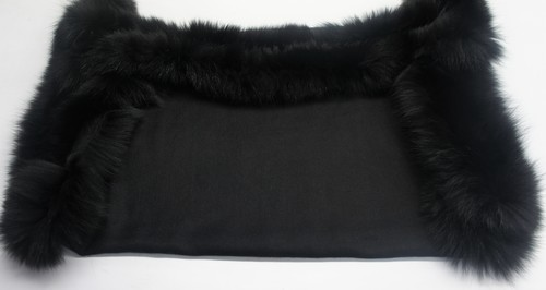 Black Silk Pashmina shawls with Four Side Fur
