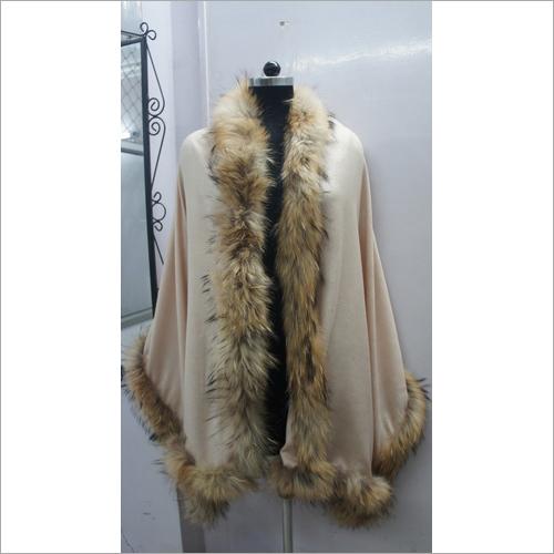 Camel Color Silk Pashmina shawls with Fur 2017