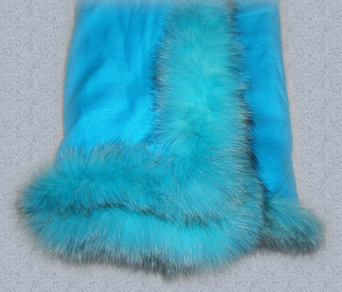 Silk Pashmina shawls with Fox Fur