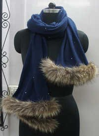Cashmere Pashmina wool knitted shawls With fur