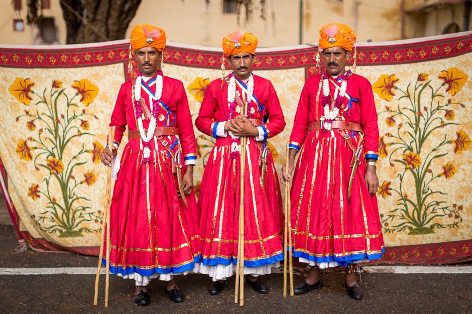 Red Kalidar Rajasthani Coustumes
