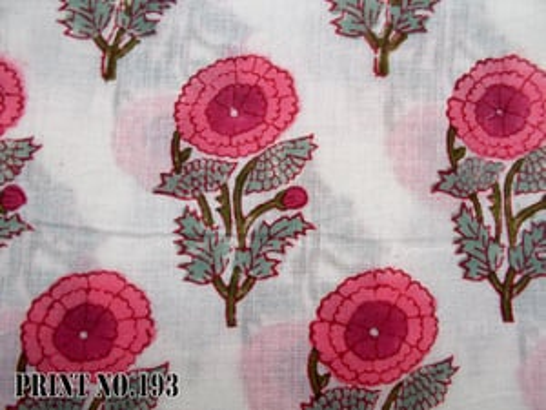 Old Traditional Pattern Round Flower Print Flower Hand Block Print 100% Cotton Fabric Handmade
