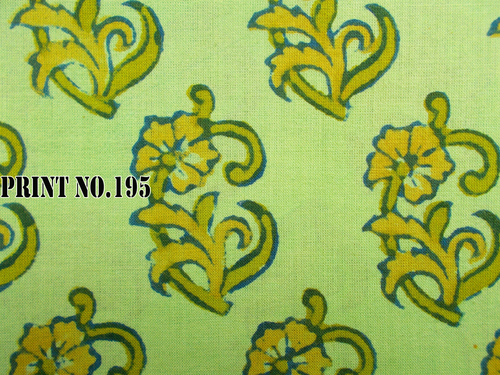 5 YARD HAND BLOCK PRINT100% COTTON FABRIC ODD FLORAL GREEN BASE DESIGN