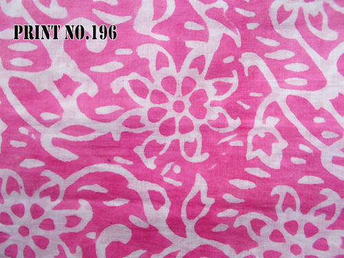 5 YARD HAND BLOCK PRINT 100% COTTON FABRIC PINK BASED WHITE JAAL DESIGN