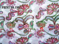 5 YARD HAND BLOCK PRINT 100% COTTON FABRIC WHITE BASED  FLORAL JAAL DESIGN