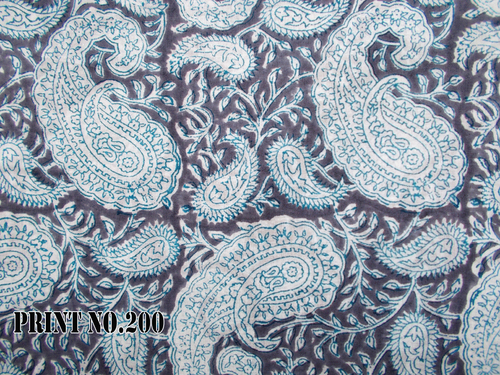 5 YARD HAND BLOCK PRINT 100% COTTON STEEL GREY PAISLEY FABRIC