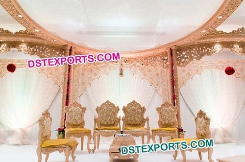 Indian Wedding Hand Craved Mandap Chairs Set