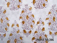 5 YARD HAND BLOCK PRINT100% COTTON FABRIC WHITE PAISLEY BROWN DESIGN