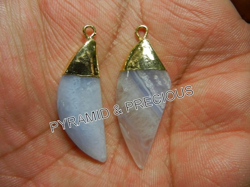 BLUE LACE AGATE ELECTROPLATED PENDANT