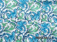 5 YARD HAND BLOCK PRINT100% COTTON FABRIC GREEN & BLUE MATCHING FLORAL DESIGN